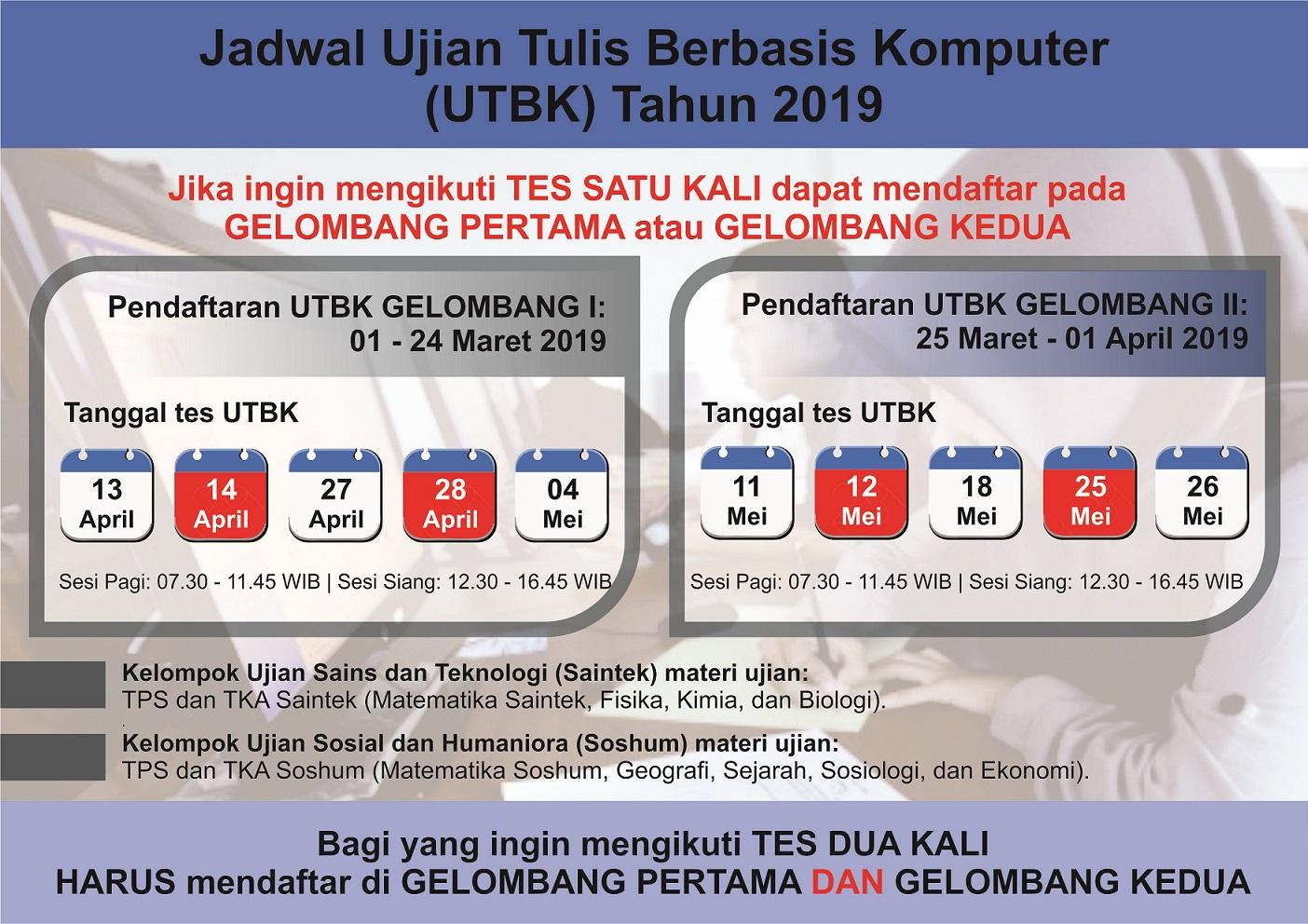 Jadwal tes, biaya, dan lokasi di Indonesia